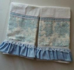 BLUE TOILE and Gingham Hand / Tea Towel Set of Two - Ruffles