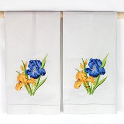Blue and Yellow Iris Embroidered Hemstitched White Hand Towe