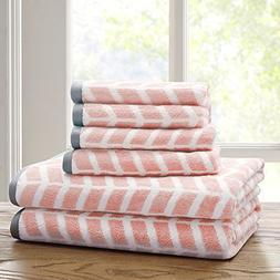 6 Piece Blush White Jacquard Towel Set With 28 X 54 Inches B