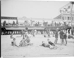 Boardwalk from the beach, Atlantic City, NJ Canvas Art Wall