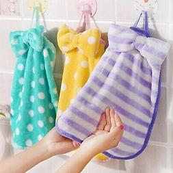 Bow Hand Towel Coral Velvet Hanging Absorbent Wipes Soft Chi