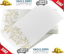Box of 100 Decorative Feel Bathroom Hand Towels GOLD Floral