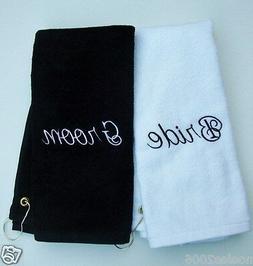Bride and Groom Embroidered Golf Bowling Towel Set Wedding G