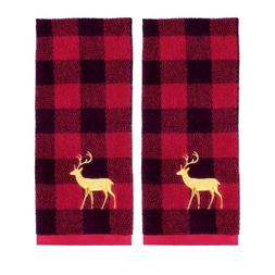 Buffalo Plaid Check Reindeer Embroidered Hand Towels Set of