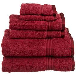 6 Piece Burgundy Solid Color Towel Set With 30 X 50 Inches B