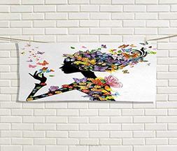 Anniutwo Butterflies,Hand Towel,Girl Fashion Flowers Butterf