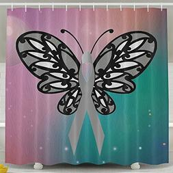 Butterfly Cancer Ribbons Shower Curtain Fabric Bathroom Show