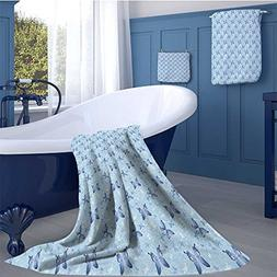 alisoso Butterfly Customized bath towel combination Blue Col