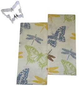 Mixed Butterfly and Dragonfly Cotton Dish Tea Towels with Co