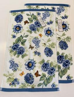 Lenox Butterfly Meadow Small Hand Towels Washcloth Blue Flor