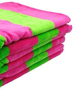 robesale Cabana Velour Terry Hand Towel, Lime/Fuchsia, Set o