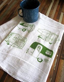 Oh, Little Rabbit Campers Screen Printed Flour Sack Kitchen