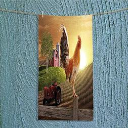 L-QN camping towel rooster perched upon a farm fence post as