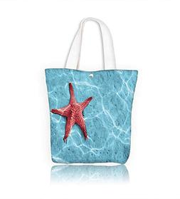 Canvas Shoulder Hand Bag Starfish in blue water with light r