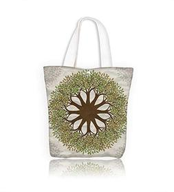 Canvas Shoulder Hand Bag tree mandala with paper women Large