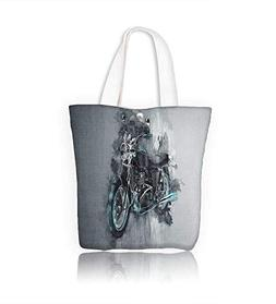 Canvas Tote Handbag single classic motorcycle bike in gray p