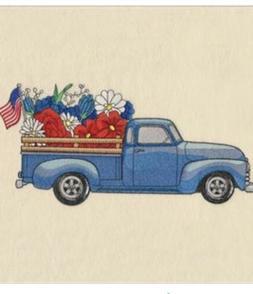 Patriotic Retro Truck Flowers EMBROIDERED SET 2 BATHROOM HAN