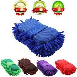 Car Auto Hand Wash Towel Microfiber Washing Gloves Coral Spo
