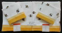 CARO Towels~4 Pc Set White & Yellow Honey Bees Velour~2 Bath