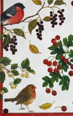 Caspari Winter Birds Guest Towel Napkins - 15 PK