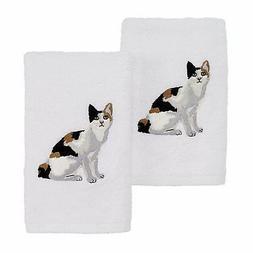 Avanti Linens 2 Pack Cat Hand Towel, Calico 2
