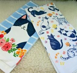 Cat Kitchen Towels Bath Hand Set of 2 Flowers Butterflies Cr
