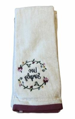 Celebrate Spring Live Simply Set 2 Hand Towels Embroidered F