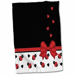 3D Rose Cute Black Ladybugs Floating Hearts Red Ribbon Towel