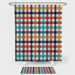 iPrint Checkered Shower Curtain And Floor Mat Combination Se