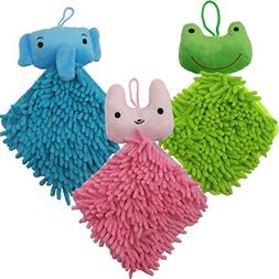 NEUAIR 3 Pack Chenille Cartoon Hanging Hand Towels Duster Cl