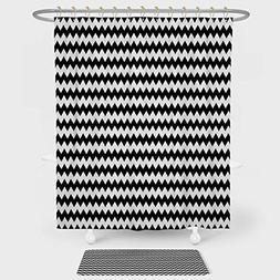 iPrint Chevron Shower Curtain Floor Mat Combination Set Zig