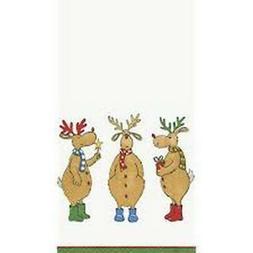 CHRISTMAS CHEER REINDEER PARTY! Caspari  15 guest towels din