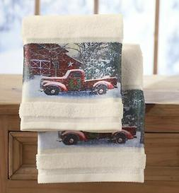 Christmas Hand Towels with Decorative Red Truck Print - Set