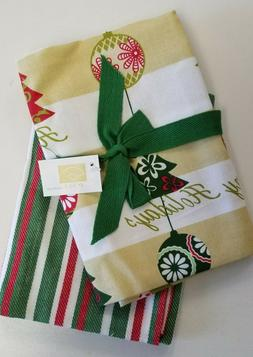 Christmas Holiday Ornaments /Striped 2 Piece 100% Cotton 18x