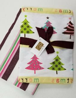 Christmas Holiday Trees /Striped 2 Piece 100% Cotton 18x24 H