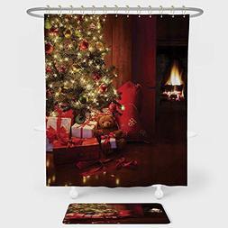 iPrint Christmas Shower Curtain Floor Mat Combination Set Xm