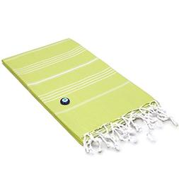 PH 1 Piece Citrus Green Stripe 35 X 70 Inches Beach Towel, L