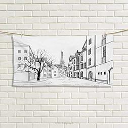 Chaneyhouse Cityscape,Hand Towel,Paris Street with Houses Bu