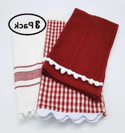 classic white red hand towel