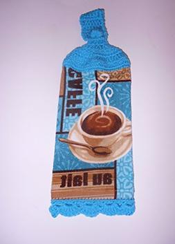 Coffee Latte Crochet Top Hanging Towel