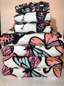 Colorful Butterfly Towels 4 Bath, 2 Hand & 2 Fingertip Towel