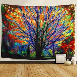 BLEUM CADE Colorful Tree Tapestry Wall Hanging Psychedelic F