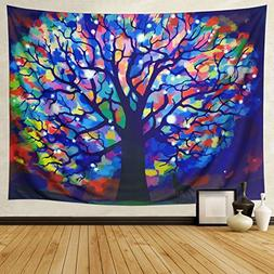 DIPPERION Colorful Tree Tapestry Watercolor Tree Of Life Tap