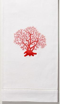 Henry Handwork Coral Red Hand Towel