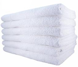 MIMAATEX Brand 100% Cotton 24x50 Inch Bath Towels, White, 6