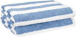 AmazonBasics Beach Towel - Cabana Stripe, Sky Blue, Pack of