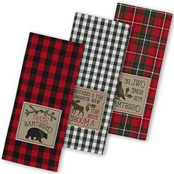"""DII Cotton Christmas Holiday Dish Towels, 18x28"""" Set of 3, D"""