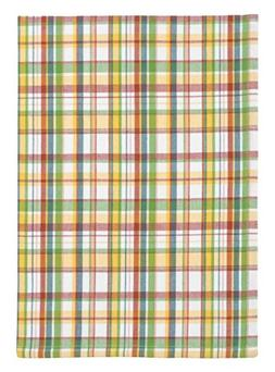 Traders and Company 100% Cotton Coral Green & Yellow Plaid 2