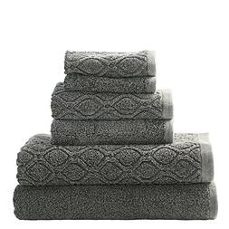 Superior 100% Cotton Denim Wash 6-Piece Towel Set, Solid and