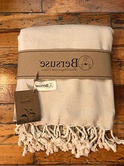 Bersuse 100% Cotton - Milas Extra Large  Throw Blanket Turki